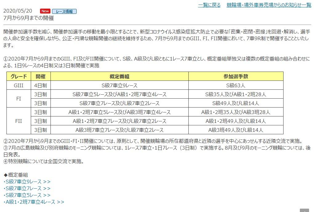JKA発表 7月から9月のレースプログラム変更内容